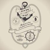 Vintage nautical themed wedding invitation — Stock Vector