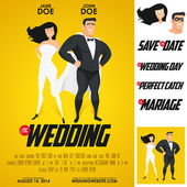 Funny super hero movie poster wedding invitation — Vector de stock