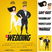 Funny super hero movie poster wedding invitation — Stock Vector
