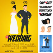 Funny glossy movie poster wedding invitation — Cтоковый вектор
