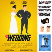 Grappige glanzende film poster bruiloft uitnodiging — Stockvector