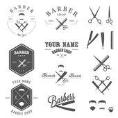 Conjunto de peluquería tienda etiquetas, insignias y elementos de diseño — Vector de stock