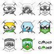 Vettoriale Stock : Set of vintage camping labels and badges