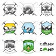 ストックベクタ: Set of vintage camping labels and badges