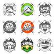 Vector de stock : Set of vintage camping labels and badges