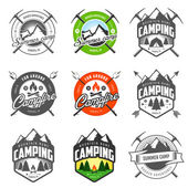 Set of vintage camping labels and badges — Stok Vektör