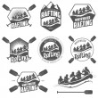 Set of whitewater rafting labels and badges — Stock Vector