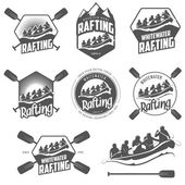 Set of whitewater rafting labels and badges — Stockvector