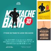Conjunto de 3 convites de aniversário adulto bigode bash — Vetorial Stock