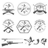 набор охоты и рыбалки этикетки и элементы дизайна — Cтоковый вектор