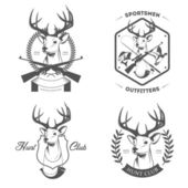 Set of hunting and fishing labels and badges — Stock Vector