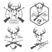 狩猟や釣りのラベルおよびバッジのセット — ストックベクタ