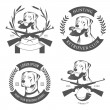 Vettoriale Stock : Set of hunting retriever logos, labels and badges