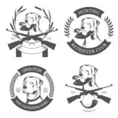 Set of hunting retriever logos, labels and badges — Stock Vector
