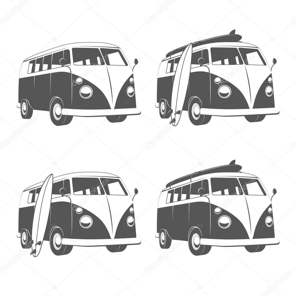 Caravana de autobuses con tablas de surf vector de stock 169 ivan