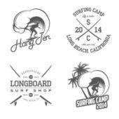 Set van surfen etiketten en badges — Stockvector