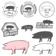 Set of pork labels, badges and design elements — Stock Vector