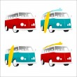 Vintage camper bus with surfboards — Stock Vector