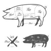 Cortes americanos de carne de cerdo — Vector de stock