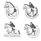 Set of equestrian labels and badges — Stock Vector