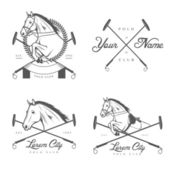 Set of horse polo club labels and badges — Stock Vector