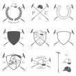 Set of horse polo labels, badges and design elements — Image vectorielle