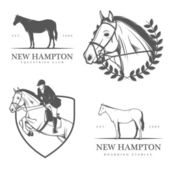 Set of equestrian stables labels and badges — Stock Vector