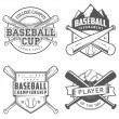 Set of baseball labels and badges — Vecteur #30480223