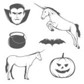 Set of Halloween characters and design elements — Stock Vector