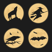 Halloween characters silhouettes — Stock Vector