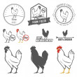 Set of chicken meat labels and design elements — Stock Vector