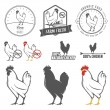 Set of chicken meat labels and design elements — Vettoriali Stock