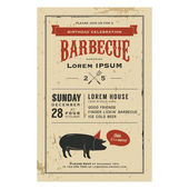 Birthday party barbecue invitation — Cтоковый вектор