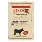 Invitation barbecue anniversaire Vintage — Vecteur