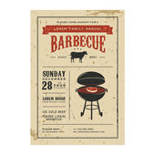 Vintage barbecue invitation — Cтоковый вектор