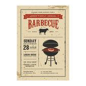 Vintage barbecue uitnodiging — Stockvector