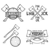 Set of lumberjack labels, emblems and design elements — Vector de stock