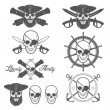 Set of pirate themed design elements  — Stock Vector