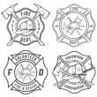 Stock Vector: Set of fire department emblems