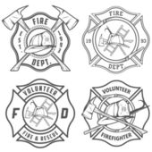 Sada hasiči emblémy — Stock vektor
