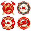 Set of fire department emblems and badges — Stok Vektör #32517689