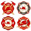 Stock Vector: Set of fire department emblems and badges