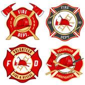 Set brandweer emblemen en badges — Stockvector