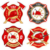 Set of fire department emblems and badges — ストックベクタ