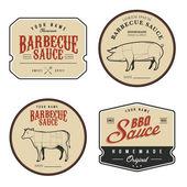 Sada štítků vinobraní barbecue omáčka — Stock vektor