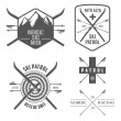 Set of nordic skiing labels and emblems — Stock Vector
