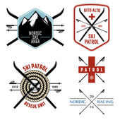 Set of nordic skiing and cross country labels and emblems — Stock Vector