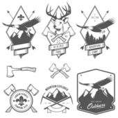 Vintage hiking and camping labels, badges and design elements — Vector de stock