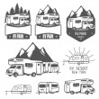 RV and caravan park badges and design elements — Imagen vectorial