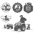 Set of ATV labels, badges and design elements — Stok Vektör